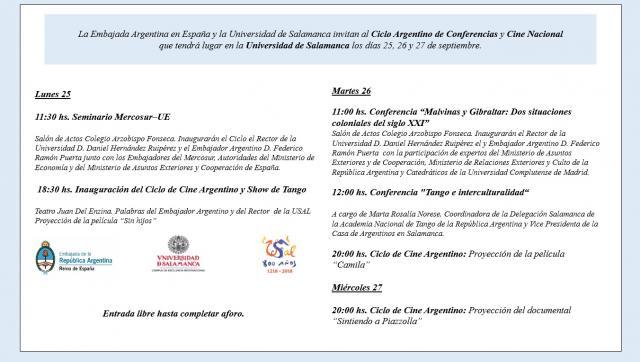 Ciclo argentino de conferencias y cine nacional en la - Consulado argentino en madrid telefono ...